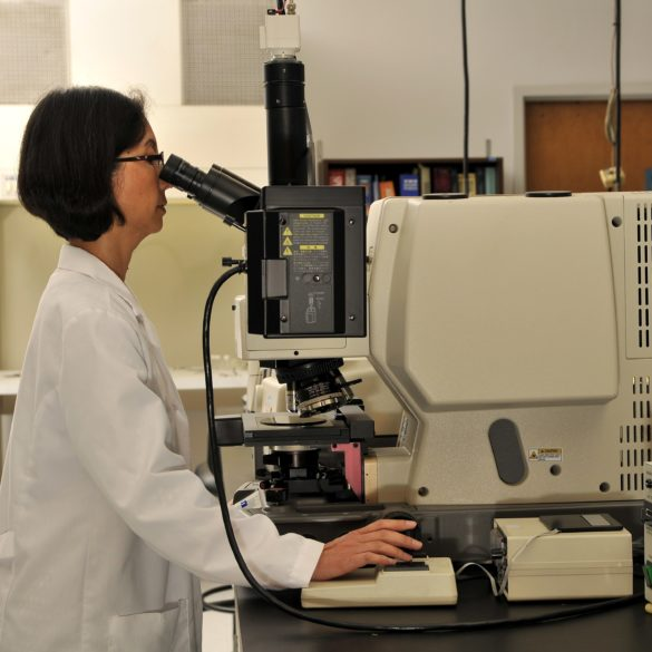 Scientists at EAG's materials sciences labs using advanced microscopy, one of our many analytical techniques.