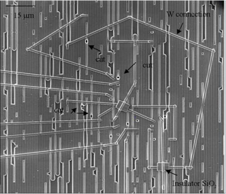 Electronic systems failure analysis image of FIB circuit edit connections and cuts from EAG Laboratories