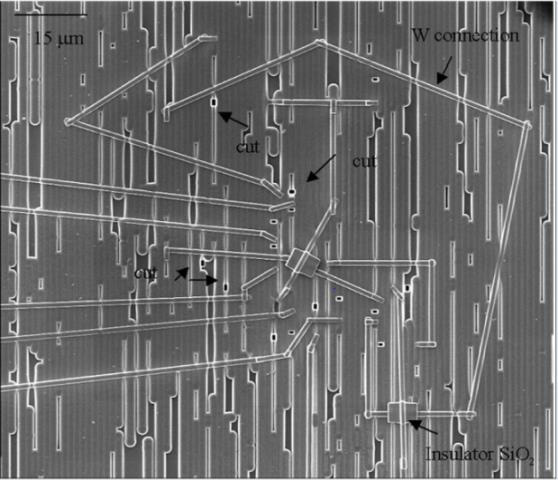 Figure 1 Multiple connections and cuts are shown for front-side FIB circuit edit.