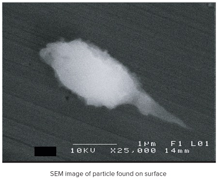 SEM image of particle found on surface