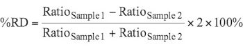 1.3. %RD of two (2) replicates of Sample injections for ratio of G0F/G1Fa
