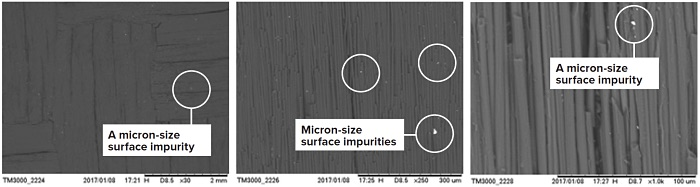 Figure 2: SEM images on carbon fiber-reinforced carbon composite material, grade PC70 (Schunk Carbon Technology), in COMPO mode (mostly z-contrast). The bright spots (shown circled above) are micron size surface impurities having densities higher than that of carbon.