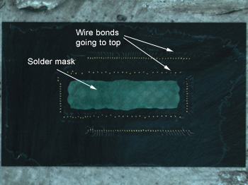 Package Delayering: view of stitch bonds that go to the top of the die surface