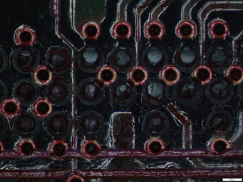 Dye and Pry: BGA Pryed PCB side