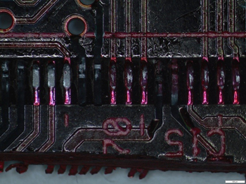 Dye and Pry: PQFP PCB side