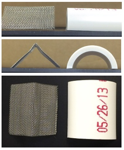 """Figure 1. Side view, front view, and top-down view of the bent stainless steel screen """"tent"""" (left) and the sectioned PVC pipe substrates (right)."""