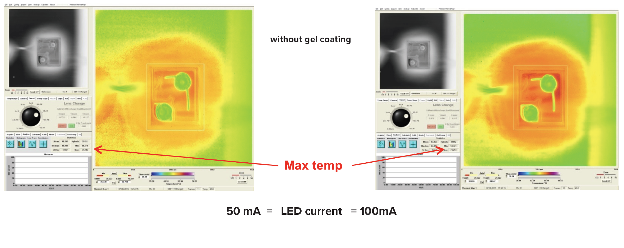 Thermal maps of LEDs as received and with the gel coating removed