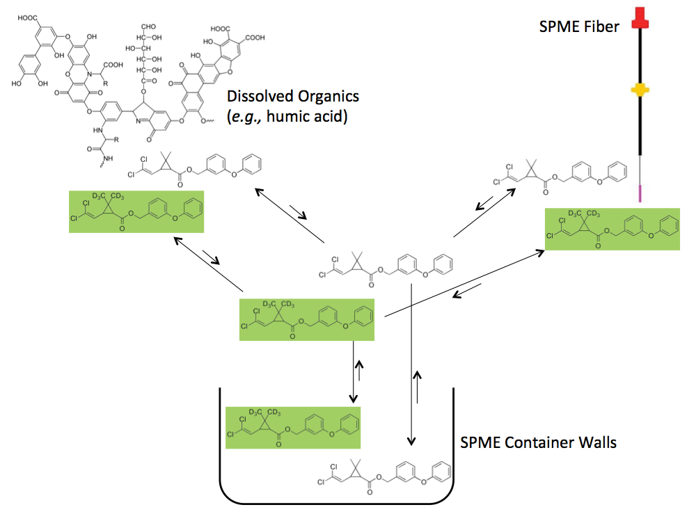 """Figure 2. SPME measurements are applied to the analyses of """"pore water"""" samples, with the goal of determining the ratio of the pyrethroid concentrations in the sediment to the freely dissolved concentrations in the pore water."""