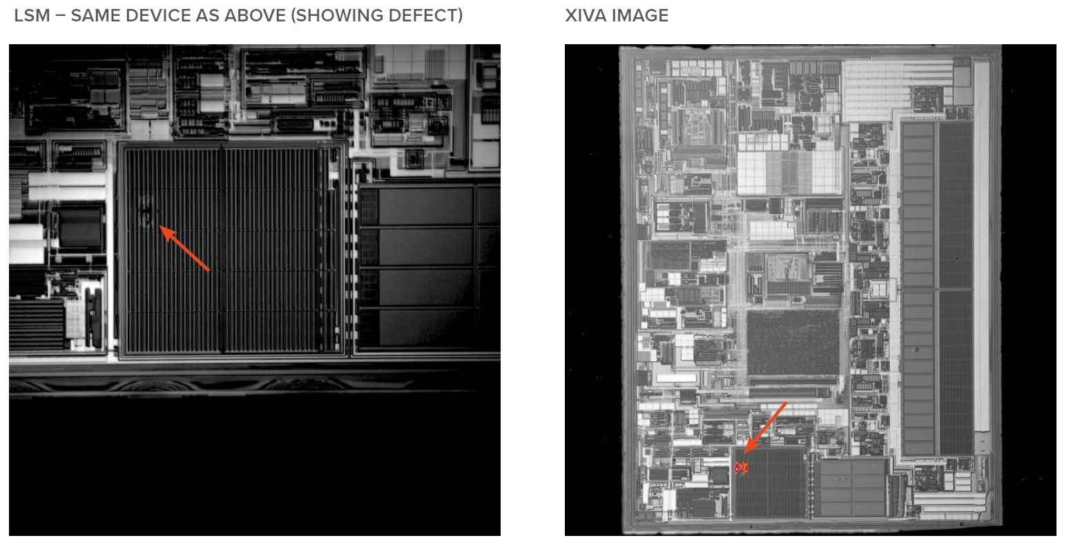 LSM - Same Device as above (showing defect) and XIVA Image
